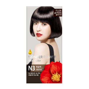 Flor De Man Wonder Flower Hair Color N3 Dark Brown 50g+70g